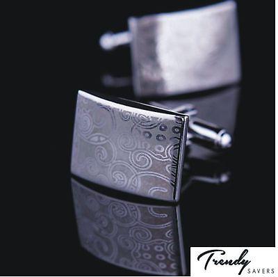 Men's Silver Cufflinks Gold Stainless Steel Mens Wedding Cuff Links