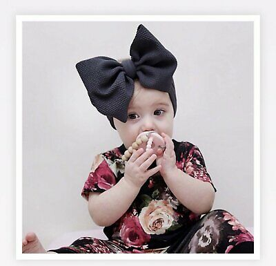 Baby Girls Large Bow Turban Headband Hair band Head Wrap Cute Kids Plain Stretch 3