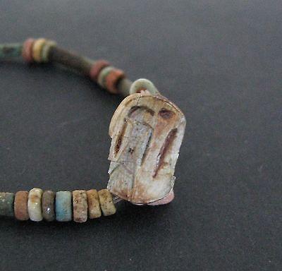 NILE  Ancient Egyptian Dog Amulet Mummy Bead Necklace ca 600 BC