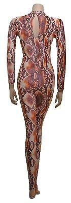 Catsuit Long Sleeves Polo Full Back Brown Snake animal Print - (ELSA) 4