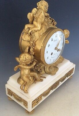 French Clock Garniture in  Gilt Bronze and Marble Circa 1880 5