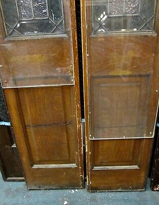 Pair Tall Beveled & Textured Stained Glass Antique Door Side- Lites Estate #145 2