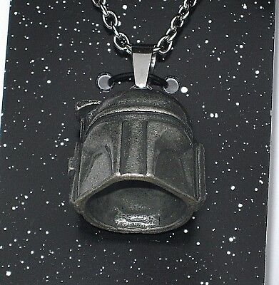 Disney Authentic Star Wars Necklace Boba Jango Fett✿3D Stainless Steel Helmet