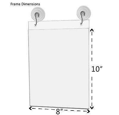 """Ad Frame Sign Holder Wall Mount 8""""W x 10""""H with Hooks and Suction Cups 2"""