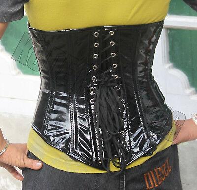 Body Shaper tight lacing Shiny PVC Under bust Steel Boned Corset Bustier KK076