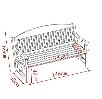 WestWood Garden Bench 3 Seater Chair Wood Patio Deck Patio Park Outdoor WGB02 7