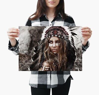 A3 Tribe Tribal Poster Gift #12569 Native American Woman Indian Poster Size A4