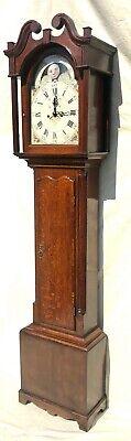 Antique Rolling Moon Phase Oak Mahogany Longcase Grandfather Clock HAYES WREXHAM 3