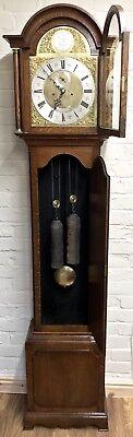~ Antique Brass Dial OAK Grandfather Longcase Clock GOLDSMITHS REGENT ST LONDON 5
