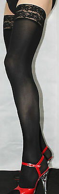 Large Size Black Smooth 80 denier Opaque Luxury Lace top Hold Up Soft Feel 9