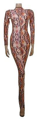 Catsuit Long Sleeves Polo Full Back Brown Snake animal Print - (ELSA) 2