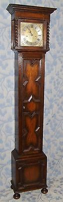 Antique Oak Grandmother / Miniature Grandfather Clock : Weight Driven Movement 2