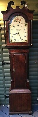 Antique painted dial longcase clock signed Holliwell & son Derby (30 hr) 2