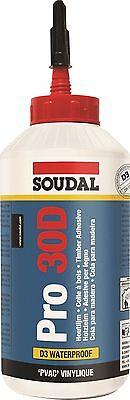 SOUDAL Pro 30D 750g Holzleim wasserfest D3 Dispersionskleber lösemittelfrei