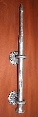 Gothic Wrought Iron Door Pull, Handle with Upset Ends & Twisted, by Blacksmiths 11