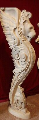 Wooden stairs Oak Decor, unique carved gryphon statue, decorative element. 2