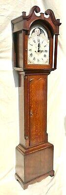 Antique Rolling Moon Phase Oak Mahogany Longcase Grandfather Clock HAYES WREXHAM 2