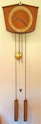 Junghans Vintage Pendulum Wall Clock With Brass Weights 3