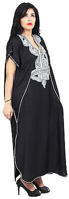 Moroccan Caftan Women kaftan Abaya Beach Cover Summer Long Dress Cotton Black