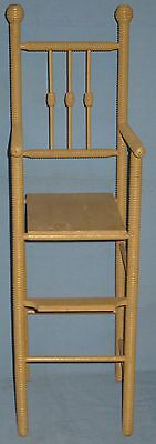 ANTIQUE DOLL HIGH CHAIR w/FOOT REST SPOOL TURNINGS BEEHIVE FINIALS ORIGINAL 3