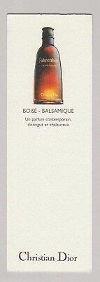 Carte à parfumer - perfume card  -  Fahrenheit de Christian Dior  (recto verso)