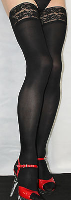 Large Size Black Smooth 80 denier Opaque Luxury Lace top Hold Up Soft Feel 12