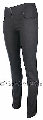 Ladies Girls Smart Trousers Casual Sizes 6 8 10 12 14 Skinny Leg Black Grey S8 3