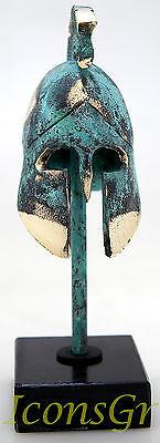 Ancient Greek Bronze Miniature Helmet On Stand Green Gold Oxidization 389-1 2