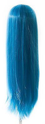 32/'/' Long Straight Long Bangs Peacock Blue Cosplay Wig NEW