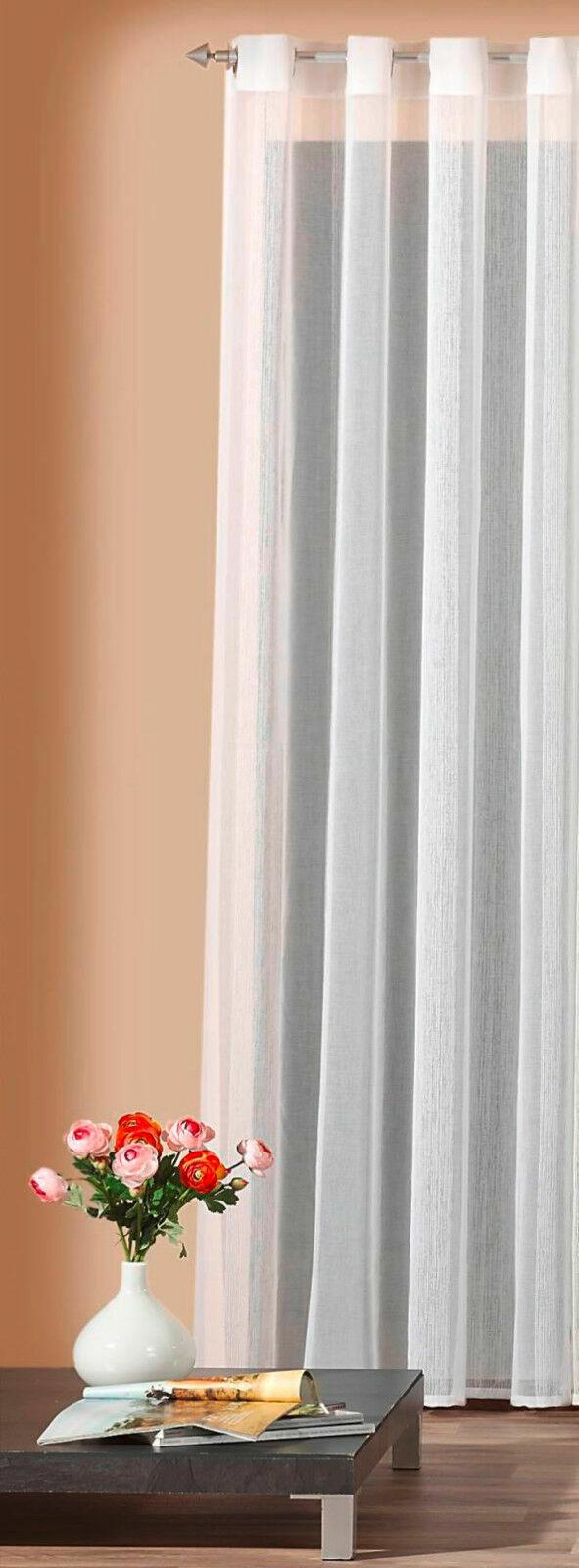 Ösenschal weiß Leinen Optik schöner Fall Dekoschal Vorhang Gardine Typ208
