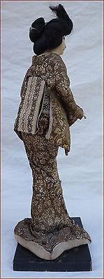 Japanese Geisha Doll Silk Gold Silver Metallic Thread Kimono 5