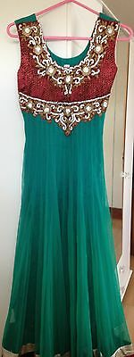 Green & Red Anarkali Suit 2
