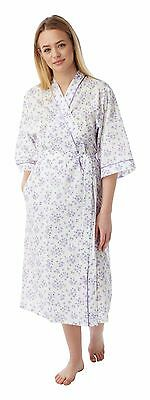 Ladies Floral Poly Cotton Wrap/Dressing Gown Pink,Lilac,Blue - Size 12-30 MN18 2