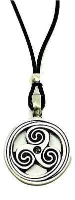 Triskelion Triskele BDSM Symbol Pendant Secret Fetish Kink Bead Cord Necklace 2