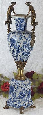 Porzellanvase Jugendstil Prunkgefäß Porzellan Bronze Vase Antik Amphore Craquele