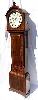 ~ Antique Inlaid Mahogany Longcase Grandfather Library Clock : DARLING EDINBURGH 3