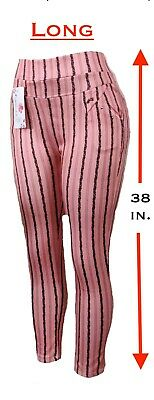 Women's Stretch Striped Casual Pull-On Pants Leggings with Pockets Ankle & Capri 3