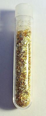 Vial full of Gold Leaf/Flake Finger Nail Art, Scrap-booking, hobby, bling, gift.