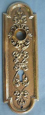 Antique Solid Cast Brass Door Backplate & Knob Victorian Design 2