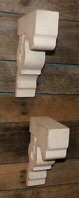 "2pc Set Rustic Wood Corbels Distressed White 9"" Corbels Brackets Shelves 4"