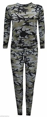 9-10 Yr Girls Camouflage Print 2-Piece Lounge Wear Tracksuit Jogging Bottoms Top 6