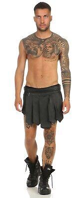XS-XXXL*Gladiator Kilt Skirt Legionär Rock Schwarz NEU Gürtel Schnallen Larp NEU 4