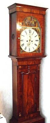 Beautiful Scottish 19th Century Flame Mahogany 8 Day Longcase Clock 9