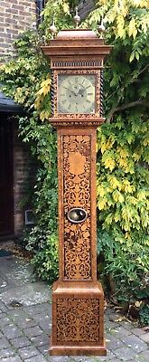 Stunning Brass Dial Marquetry Longcase Clock. fusee? Grandfather Bracket Mantel 3