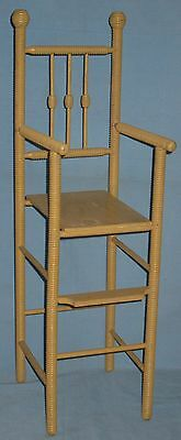 ANTIQUE DOLL HIGH CHAIR w/FOOT REST SPOOL TURNINGS BEEHIVE FINIALS ORIGINAL 7