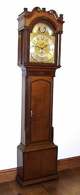 Antique Rolling Moon Oak & Mahogany Longcase Grandfather Clock MOYLE CHESTER 2