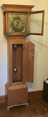 RARE Antique Brass 8 Day 5 Pillar Pine Longcase Grandfather Clock BARBER WINSTER