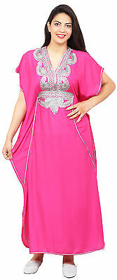 Moroccan Caftan Women kaftan Abaya Beach Cover Summer Long Dress Cotton Magenta