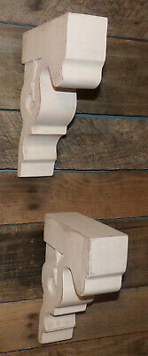 "2pc Set Rustic Wood Corbels Distressed White 9"" Corbels Brackets Shelves 2"