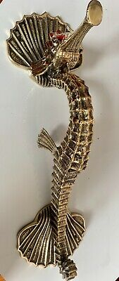 """Massive 60cm SEAHORSE solid pure brass door old style heavy PULL handle 24"""" B 2"""